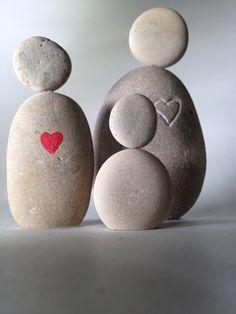 Zen stone figures with heart hand engraved door TheStoneWoodStudio