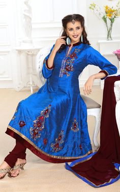 BLUE RAW SILK ANARKALI SALWAR KAMEEZ - DIF 28958