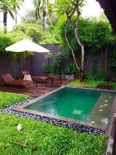 This kind of pool landscaping can turn your boring old backyard into the backyard of the stars. You can have a Hollywood looking backyard in n o time if you play your cards right. Small Backyard Design, Small Backyard Pools, Backyard Pool Landscaping, Backyard Pool Designs, Small Patio, Outdoor Pool, Backyard Ideas, Backyard Cabana, Landscaping Ideas