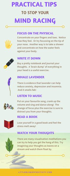 Wish that you could unplug your brain or that it had an off switch? Want to stop your mind racing? Here are 15 practical tips to show you how. #mindracing #mindracingcantsleep #racingmind #racingmindatnight #racingthoughts #racingthoughtsatnight #racingthoughtscoping #mentalhealth