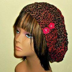 Slouchy Hat Pink Purple Crochet Womens Tam by wildirishrosecrochet, $30.00
