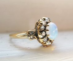 Victorian Opal & Rose Cut Diamond 18K Yellow Gold Engagement Ring. $699.00, via Etsy.