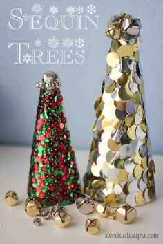 Sequin Trees- super easy decor you can make while watching a movie!