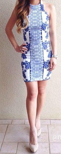 Blue + White Halter Dress