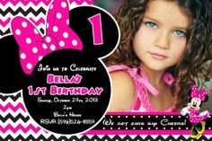 Minnie Mouse Hot Pink Birthday Invitations $8.99