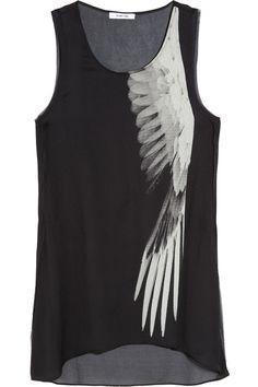 Helmut Lang wing-print silk top.