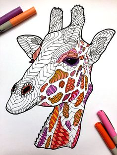 Giraffe PDF Zentangle Coloring Page by DJPenscript on Etsy