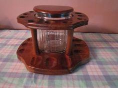 Vintage mahogany 12 pipe circular rack with glass humidor on Etsy, $35.00