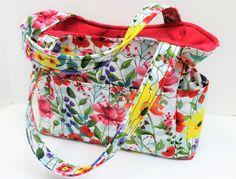 Multi Floral Shoulder Bag, Spring Travel Handbag, Diaper Bag, Red Flower Bag, Handmade Fabric Purse, Quilted Handbag, Sling Purse, Baby Bag by JustBeautiful161 on Etsy #SummerHandbag #SpringFloralBag #Floral Purse