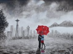 Great Wedding Gifts, Black White Red, Frame It, Couples In Love, Wrapped Canvas, Bing Images, Original Paintings, Rain, Hand Painted
