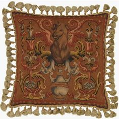 Beast on Rust - 22 x 22 in. Aubusson pillow