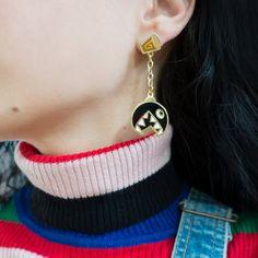 Chain Chomp Earrings! Dangly Earrings, Drop Earrings, Chain Chomp, Geek Fashion, Kawaii Clothes, 14 Karat Gold, Piercings, Geek Stuff, Yoshi