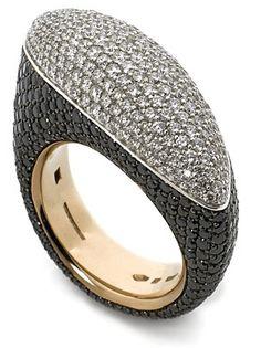 Vhernier pave set black & white diamond Fuseau ring | Nigel Milne