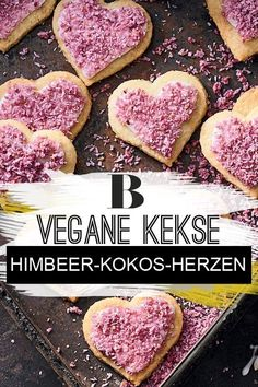 Raspberry and coconut hearts. The pink splendor on these vegan cookies? Coconut flakes bathed in ras Lime Juice, Coconut Flakes, Biscuits, Raspberry, Valentines Day, Snacks, Baking, Vegetables, Pink