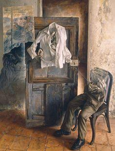 Eduardo Naranjo - ESPACIO PARA UN RECUERDO EN TRES FASES. 1977. Óleo sobre lienzo. 189 x 172 cm.