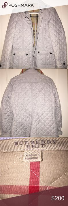 Burberry Quilted Jacket Powder blue Burberry jacket. Bought it from another person on poshmark. There is some dirt on the cuff of the sleeve but easy to clean. Worn only a few times. It is authentic. Burberry Jackets & Coats