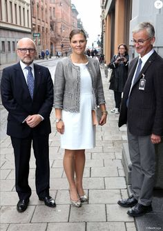 Pregnant Crown Princess Victoria of Sweden attends an opening of an exhibition devoted to Count Folke Bernadotte's activities at the Mediterranean Sea Museum on September 17, 2015 in Stockholm, Sweden.