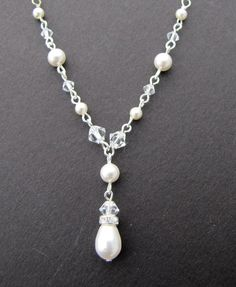 Bridal Necklace, Pearl Necklace, Ivory Swarovski Pearls, Crystals Necklace,Sterling Silver Chain,Wedding Pearl Necklace,Bridal Jewelry,EMILY