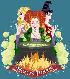 Hocus Pocus- Winifred, Sarah and Mary the Sanderson Sisters Witches with the cauldron of their potion Halloween Painting, Halloween Movies, Halloween Pictures, Disney Halloween, Fall Halloween, Halloween Crafts, Happy Halloween, Halloween Decorations, Halloween Window