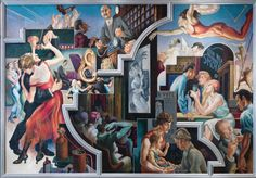 """The Metropolitan Museum of Art in New York has put its epic, 1930's Thomas Hart Benton mural """"America Today"""" on display in its American wing for the first time since it received the cycle from AXA Equitable Life Insurance company in 2012."""