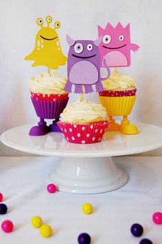 Our Little Lady Monster Party Cupcake Toppers from @Pinwheel Lane http://pinwheellane.etsy.com