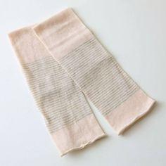 遊 中川/ふんわりアームカバーしましま 生成 1575yen 靴下メーカーがつくるふんわりアームカバー