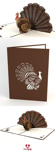 The front of this perfect pop up Thanksgiving card displays a handsome turkey with intricately detailed laser-cut plumage. Open the rich chocolate brown card to reveal a dapper three-dimensional turke Thanksgiving Cards, Thanksgiving Turkey, Hosting Thanksgiving, Kirigami, Paper Cutting, Tarjetas Pop Up, Pop Up Art, Bible Crafts For Kids, Make Your Own Card