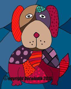 Canvas of the dog by Decoludik on Etsy Wall Art Decor, Nursery Decor, Cotton Canvas, Wrapped Canvas, Original Paintings, Canvas Prints, Creative, Dogs, Handmade