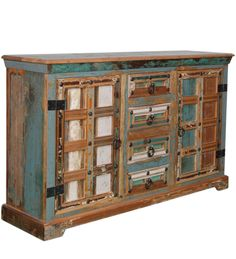 Credenza Multicolore Legno massello di sheesham CS-184191 X 149 X 40 CM | Arts of India – Italy