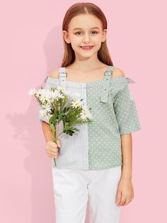 Girls Button Front Color Block Polka Dot Top