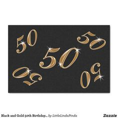 Black and Gold Tissue Paper for your 50th Birthday Party Ideas for men and women CLICK: http://www.zazzle.com/black_and_gold_50th_birthday_tissue_paper_10_x_15_tissue_paper-256060061543931731?rf=238147997806552929 Rich and handsomely beautiful black and gold birthday party supplies or wonderful to celebrate their fiftieth anniversary tissue paper gift wrapping supplies. CALL Linda to create matching and coordinating 50th party supplies. 239-949-9090 http://www.Zazzle.com/LittleLindaPinda