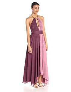 Jill Jill Stuart Women's 2-Tone Key Hole Crinkle Chiffon Gown,Mauve/Thistle,0    I love the look of color block dresses as they are slimming and look adorable.  I love the wide selection of patterns and colorblocking styles. My favorite color block dresses hug the bodys curves.  You will apprecaite there are all kinds of sizes and materials to pick from.  Pair this color block dress with the right shoes to elevate your fashion game to the next level.