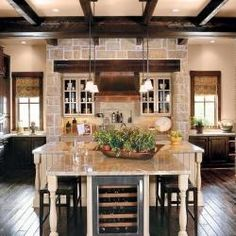 Texas Ranch style home was built as a Southern Living Idea House by Jefferson Christian Custom Homes... Beautiful kitchen, im in love lol! :)