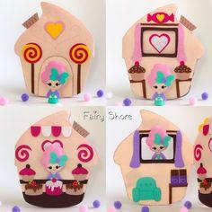 PDF pattern felt quiet book and doll - Cupcake doll house soft book, plush toy Felt Doll House, Cupcake Dolls, Felt Cupcakes, Quiet Book Patterns, Felt Fairy, Felt Quiet Books, Tiny Dolls, Doll Patterns, Diy Crafts