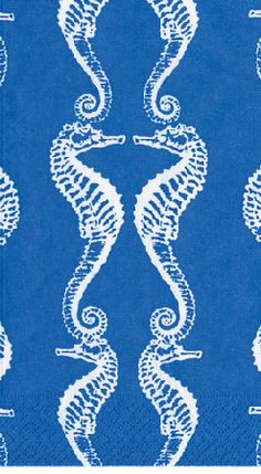 Caspari Seahorses Blue Printed 3-Ply Paper Guest Towels Wholesale 11890G