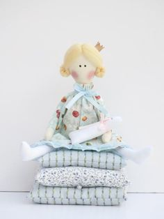 Handmade cloth doll, fairy tale doll Princess and the Pea blue dress,blonde with kitty, fabric doll stuffed doll - gift for girl. via Etsy.