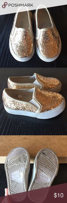 Circo gold glitter shoes Glitter shoes for toddler girl size 5 a little hidden drawing on the inside but very cute on the outside. Circo Shoes Sneakers