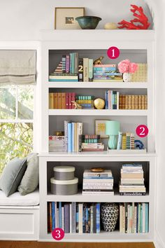 6 Organization Ideas for Your Bookshelf - Organize Your Home - Show off your stuff - 1.Create little vignettes. 2. Empty space is important too. 3. Be thoughtful about your books. Try to add a bold vase or a stack of boxes: It's nice to see a different shape nestled among a row of books. Head over to redbookmag.com for more details.