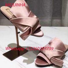 2781258d7151 Hottest Fashion Summer Sandals Big Bowtie Knot-Effect Satin Mules Slide  Brand