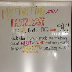 Not only does this get students in the mindset thinking about what they are motivated about, but it also makes them think about the source and core of the motivation. Future Classroom, School Classroom, Classroom Tools, Classroom Ideas, Morning Board, Morning Activities, Daily Writing Prompts, Bell Work, Responsive Classroom