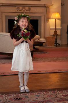 Berry faux fur bolero for a pretty bridesmaid. Flower girl burgundy jacket by Blanche in the Brambles. Dress by @damselflyfg