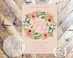 Printable Wedding Save the Date Coral by RubyRidgeStudios on Etsy