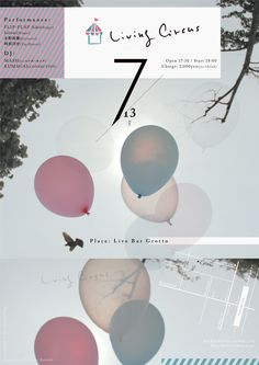 shun yonemura LivingCircus flyer Graphic Design, Movie Posters, Art, Art Background, Film Poster, Kunst, Performing Arts, Billboard, Visual Communication