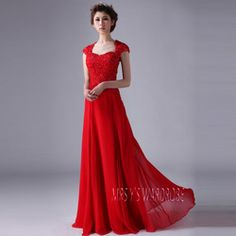 Online Shop 2014 New Spring Evening Dress Red Robe De Modest Prom Dresses With Sleeves Floor Length Lace Cap Shoulder Sleeve|Aliexpress Mobi...