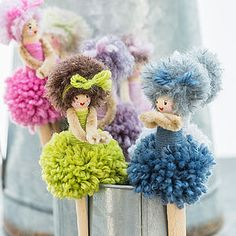These gorgeous little peg dollies will keep you smiling all day! Made by two jolly lovely ladies in Kent these little dolls are sure to raise a smile - vintage pegs, pure wool pom poms, mohair hair with little wool bows and each face is lovingly hand pain New Crafts, Hobbies And Crafts, Crafts To Sell, Diy And Crafts, Crafts For Kids, Arts And Crafts, Crafts With Wool, Preschool Crafts, Pom Pom Crafts