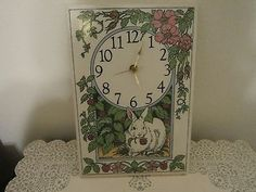 Lovely Santa Barbara Ceramic Design Wall Clock ~ clock parts need to be replaced. so cute with the white rabbit happily chewing on some raspberry leaves. large size wall clock, not the desk top size. Clock Parts, California Art, Ceramic Design, Santa Barbara, Pottery Art, Wall Design, Rabbit, Ceramics, Raspberry