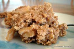 Apple Cinnamon Baked Oatmeal - 3 cups old fashioned oats, 1/2 cup honey, cinnamon, nutmeg, baking bowder, salt, 1 cup milk, 1 egg, 1/2 cup applesauce, vanilla, 2 apples chopped - YUM!