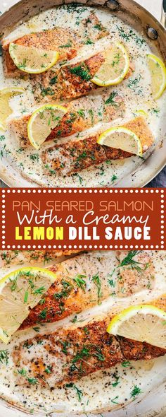 Pan Seared Salmon with a Creamy Lemon Dill Sauce is perfectly crispy and flaky salmon that is in the most amazing creamy lemon dill sauce. Salmon Recipe Pan, Dill Sauce For Salmon, Lemon Dill Salmon, Lemon Dill Sauce, Seared Salmon Recipes, Creamy Dill Sauce, Butter Salmon, Healthy Salmon Recipes, Pan Seared Salmon
