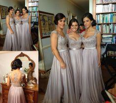 2014 silver Cap Sleeves Long Wedding Bridesmaid Dresses Formal evening custom sz