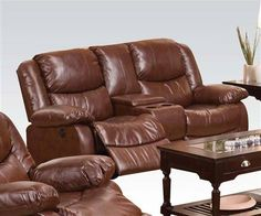 Fullerton Brown Bonded Leather Match Power Motion Loveseat